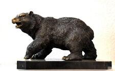 handgefertigte Bronzefigur - Bronze Bär signiert auf schwerer Marmorplatte