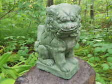 "Cement 10"" Tall Chinese Foo Dog Garden Art Statue Green Concrete Asian Ornament"
