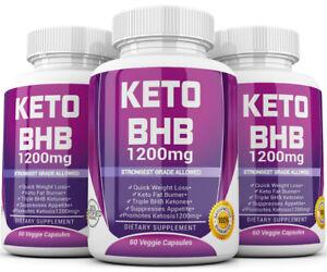 3 X KETO BHB 1200mg PURE Ketone FAT BURNER Weight Loss Diet Pills Ketosis