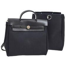 HERMES Her Bag Ado PM 2 in 1 Backpack Hand Bag Black Toile Offcier ⬜D TG01735g