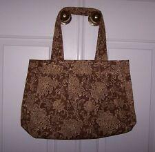 Handbag/Tote Large Waverly Fabric Handmade Floral Brown/Beige Lining Pocket New
