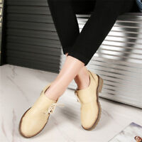 New Women's Round Toe Loafers Lace up Block Low Heel Oxfords Casual Solid Shoes