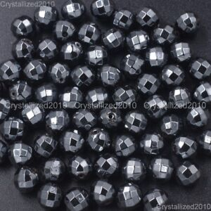 100pcs Natural Hematite Gemstone Faceted Round Beads 2mm 3mm 4mm 6mm 8mm 10mm
