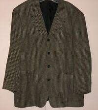 Men's Haggar Clothing Linen Blend Check Pattern Suit Blazer Sz 46 R Jacket