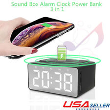 Electric LED Alarm Clock Phone Wireless Charger Desktop Music Player  Speaker FM