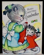 Vtg 50s UNUSED Gibson Greeting Card Merry Christmas Grandmother Kitten Cat