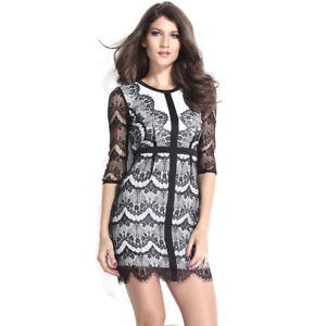 ILAVO® Weißes Kleid / Spitzenkleid mit schwarzer Spitze - weiß / schwarz K1-69