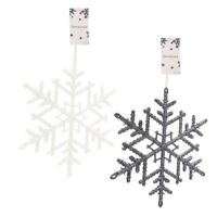 "2x Hanging Christmas Tree Decoration Snowflake 7"" Glitter White,Cool Grey Xmas"