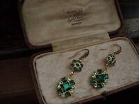 Vintage Peridot & Emerald Green Square Crystal Drop Hook Pierced Earrings