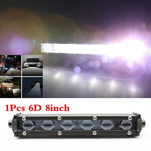"6D Single Row 8"" 60W Slim LED Work Light Bar Spot Beam Car SUV Offroad Lamp 1PCS"