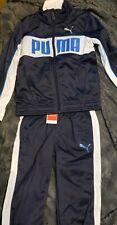 Puma boy's 2 piece Set Zip up Track Suit sz 4 Navy/White New