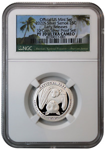 2020-S Silver American Samoa Quarter PF70 UCAM NGC Early Release - Bat Coin