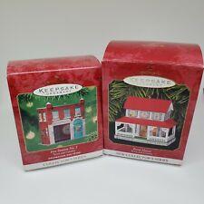 Hallmark Keepsake Ornaments Town & Country Series Fire Station No.1 & Farmhouse