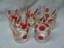 Vtg 5 Juice Tumblers Glasses Large Red Polka Dots Gold Leaves.