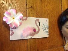 Retro Tiki Tropical Flamingo Glitter Feather Hibiscus Hanging Wooden Sign