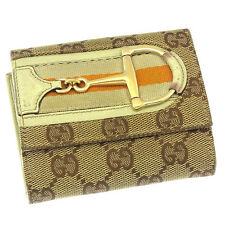Gucci Wallet Purse Folding wallet GG Beige Brown Woman Authentic Used Y2792