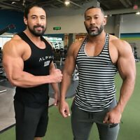 ALPHA Gym Vest Men Muscle Fitness Cotton Tee Workout T-Shirt Athletic Clothes