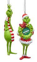 Kurt Adler Grinch Licensed Holiday Ornaments Set of 2 Green 4.25 Inch