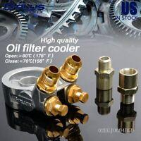 Aluminum Oil Filter Cooler Sandwich Plate Adapter AN10 + 80 Deg 176 F Thermostat