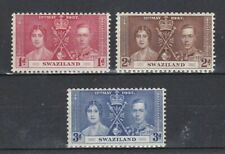 complete set of 3 mint GVI coronation stamps from Swaziland. 1937.