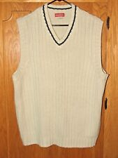 UNION BAY cream Fisherman rib V-neck sleeveless pullover casual sweater vest/XL