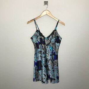 Apt 9 Womens Size Small Satin & Lace Cami Chemise Sleep Gown Boho Multi Pattern