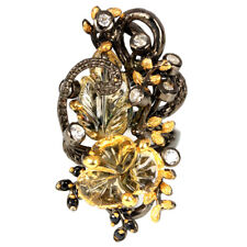 NATURAL FLOWER CARVING YELLOW CITRINE & WHITE CZ STERLING 925 SILVER RING 7.75