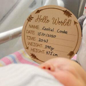 Hello World Plaque Baby Birth Announcement Discs New Baby Sign