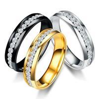 Unisex Rhinestone Ring Einreihig Edelstahl Diamant Ring Größe 6 10