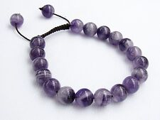 Natural Amethyst Gemstone Men's beaded bracelet February Birthstone 10mm beads