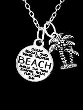 Beach Charm Necklace Palm Tree Nautical Seashell Christmas Gift