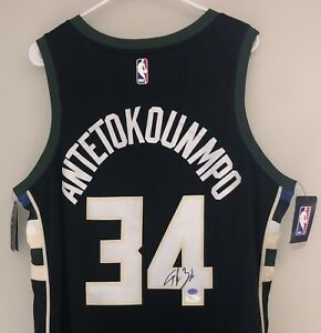 Giannis Antetokounmpo Autograph Bucks Black Authentic Nike Statement Jersey JSA