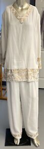 Diane Gilman 100% Silk White Pant Suit with Gold Embroidery tape  Size 1X