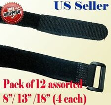 "12 Assorted 8"" 13"" 18""  Fastener Cable Tie Down Strap Reusable Hook and Loop"