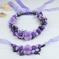 Romantic Wristband Simulation Flower Crown Headband Set Floral Parent-child