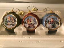 Berta Hummel Bradford Ornaments 'Holiday Happiness' Set of 3. Goebel 2000. Rare