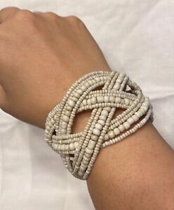 Echo Naturals Cuff Bracelet Ivory White Glass Beaded Woven Wrap Boho New