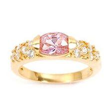 Bague Femme T54 Joaillerie Diamant & Topaze Cz Plaqué Or 18K Laminé 5 Microns