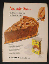 1956 Py-O-My Graham Cracker Crust Chocolate Fluff Ice Box Pie Mix Kitchen Art AD
