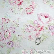 BonEful Fabric Cotton Quilt VTG Pink White Cottage Rose Shabby Chic Flower SCRAP