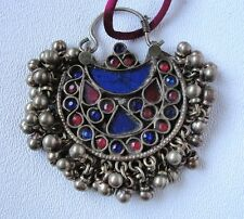Kuchi Alpaca Silver Pendant/Nosering, Vintage with Dangles red /blue stones