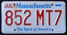 "MASSACHUSETTS "" THE SPIRIT OF AMERICA - 852 MT7 "" MA License Plate"