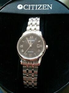 New Citizen Eco Drive Women's Watch e011-s100500 Stainless Steel Sapphire Crysta
