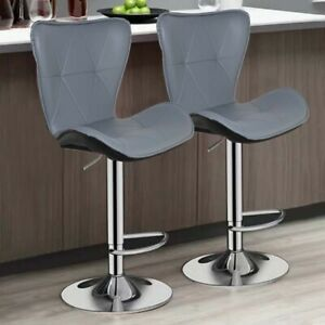 2 BARCELONA GREY Bar Stools Barstools Kitchen Pub Stools Breakfast Bar Chairs
