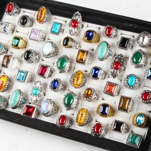 Wholesale 25pcs Jewelry Natural Turquoise women Silver gold Vintage Wedding Ring