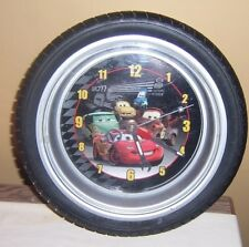 ~~ PIXAR ~~ CARS TIRE 1/2 IN WALL CLOCK  ~~TEAM WYP  WITH LIGHTNING MCQUEEN