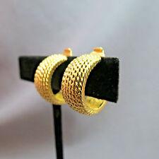 "Monet Hoop Earrings Comfort Clip Gold Plated Textured .75"" Diameter Stylish"