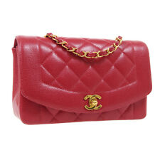 CHANEL Diana Quilted Single Chain Shoulder Bag 2870510 Purse Red Caviar AK31440f