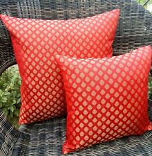 Red & Gold Brocade Cushion Covers Waist Throw Pillow Cover Set Of 5
