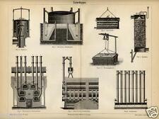 1892= ILLUMINAZIONE A GAS = Industria Artigianato = STAMPA Antica = Old Engravin